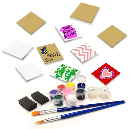 VHALE DIY Create and Paint Your Own Magnetic Fiberboard Tile Art Kit, 10 MDF Tile (2.5 x 2.5 inch) with Non Scratch Magnet, Fridge and School Locker Decor, Creative Art and Craft, Party Favor for Kids