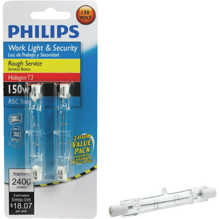 Electrical Light Bulb Double Contact (Philips 416875 Work and Security 150-Watt T3 RSC, Double Ended Base Light Bulb, 2-Pack )