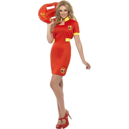 Womens Lifeguard Costume (Adult's Womens  Baywatch Beach Lifeguard Red Dress And Jacket)