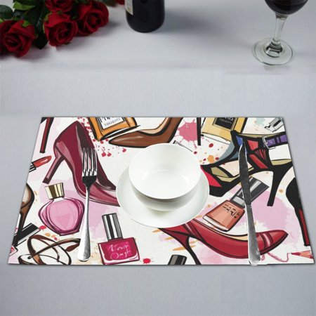 MKHERT Fashion Cosmetics Decor High Heel Shoes Perfumes Lipstick Placemats Table Mats for Dining Room Kitchen Table Decoration 12x18 inch,Set of 4 ()