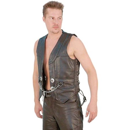 Heavy Leather Motorcycle Vest with Chain #VM616CC