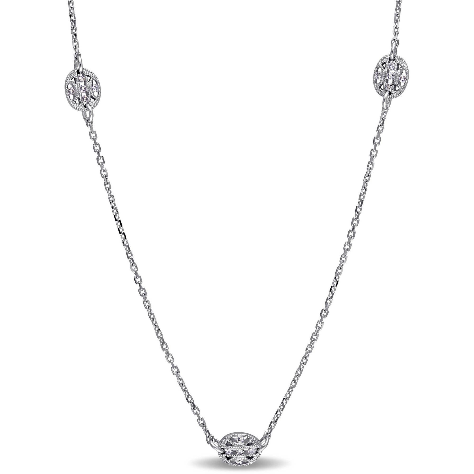 "Miabella 1 3 Carat T.W. Diamond 14kt White Gold Vintage Station Necklace, 32"" by Miabella"