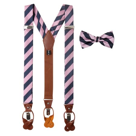 Jacob Alexander Matching College Stripe Suspenders and Bow Tie