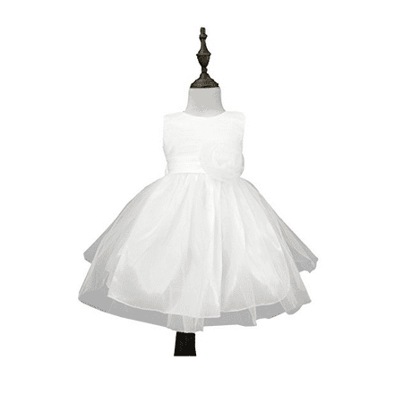 Chiffon Tulle Wedding Pageant Flower Girl Dress Bow Tie Sash Satin Skirt, White 90