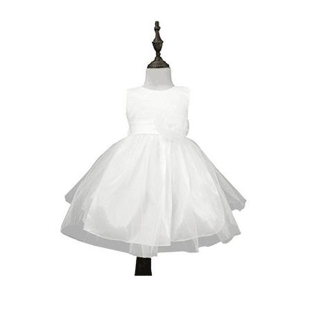 Chiffon Tulle Wedding Pageant Flower Girl Dress Bow Tie Sash Satin Skirt, White 90 (Full Skirt Flower Girl Dresses)