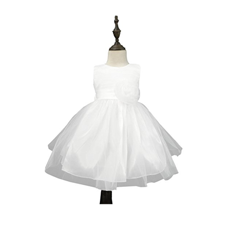 Chiffon Tulle Wedding Pageant Flower Girl Dress Bow Tie Sash Satin Skirt, White 90