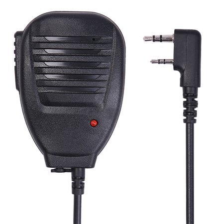 Kenwood Adapter Mic - HDE Two Way Radio Speaker with Push Button Mic Shoulder Mount Microphone/Speaker for Kenwood BaoFeng and FDC Radios (Black)