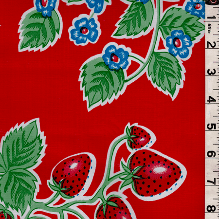 - Red Floral Oilcloth, Fabric By the Yard