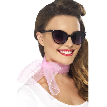 Womens Pink Vintage 50's Housewife Neckscarf Chiffon Style Costume Accessory - 50 Style Costumes