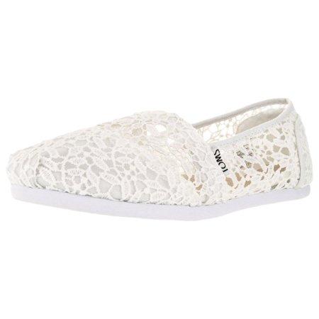 Toms Womens 10008033 Lace Leaves Alpargata Flat  White  11 M Us By Davids Bridal