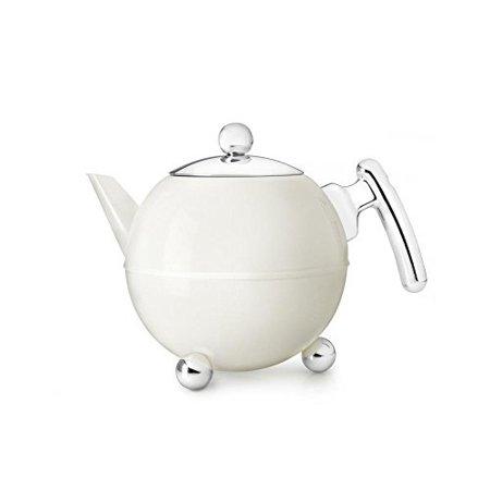Bella Satin (bredemeijer Bella Ronde Double Walled Teapot, 1.2Liter, White Satin Finish with Chromium)