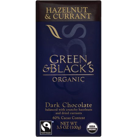Green & Black's Organic Dark Chocolate with Currant and Hazelnut, 60% Cacoa, 3.5 Oz Bar ()