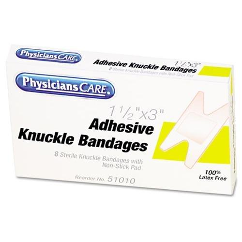 """Physicianscare Fabric Knuckle Bandages Refill - 1.50"""" X 3"""" - 8/box - White (51010_40)"""