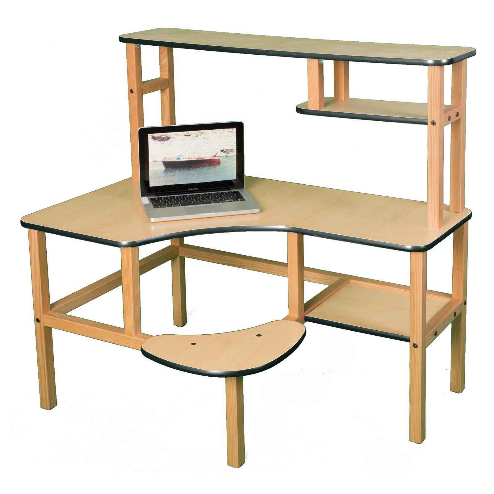 Wild Zoo Grade School Computer Desk with Optional Hutch and Printer Stand - Maple