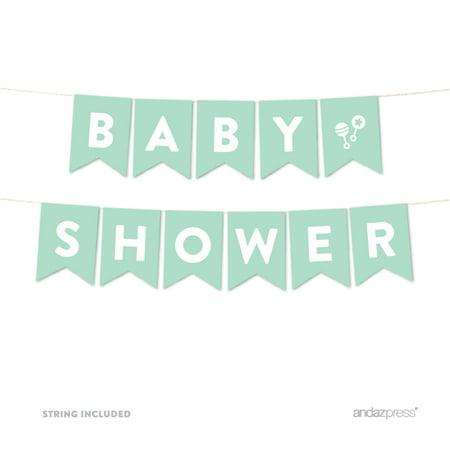 Baby Shower Mint Green Gender Neutral Baby Shower Pennant Garland Party Banner - Gender Neutral Baby Shower Decorations