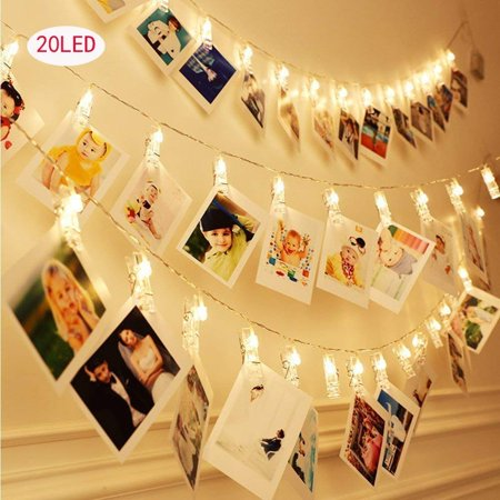 20 Led Photo Clips String Lights (6.5 Ft, Warm White) for Hanging Pictures, Cards, Artwork, Decorations, I0416