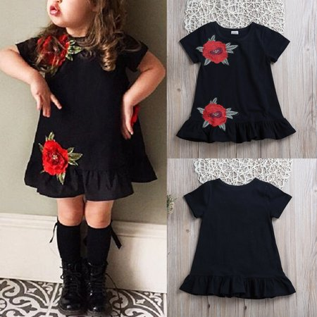 Boutique Toddler Kids Baby Girl 3D Flower Summer Party Dress Sundress Clothes - Children Boutique Clothing