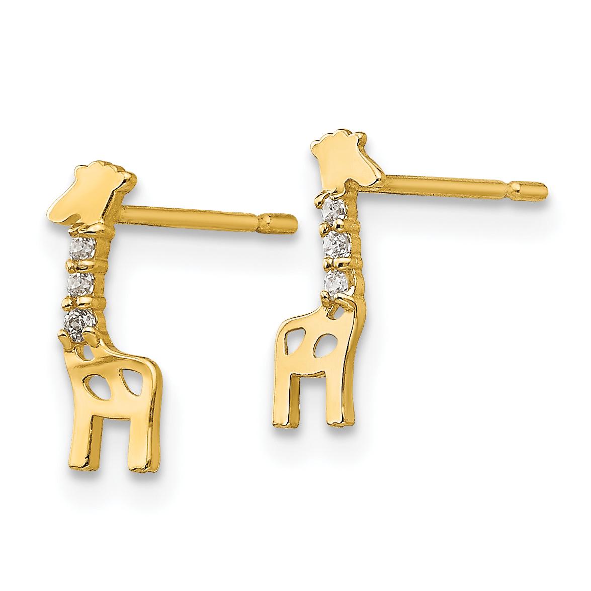 14k Madi K CZ Children's Giraffe Post Earrings GK821 - image 1 de 2