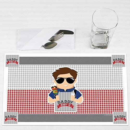 Daddy BABY-Q Caucasian Brunette Man Shower Party Placemats Set of 12 by Big Dot of Happiness, LLC