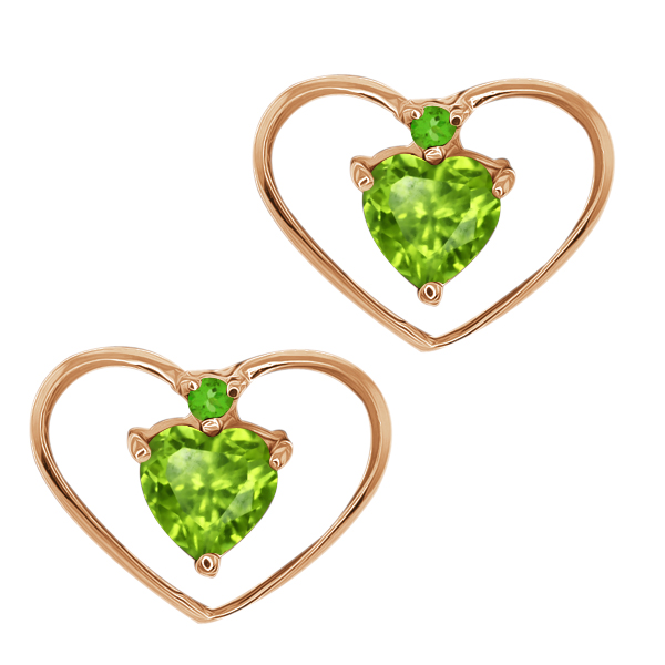 0.57 Ct Heart Shape Green Peridot and Simulated Peridot 18k Rose Gold Earrings