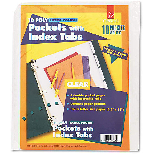 Cardinal Ring Binder Divider Pockets With Index Tabs, 8-1/2 x 11, Clear, 5/Pack