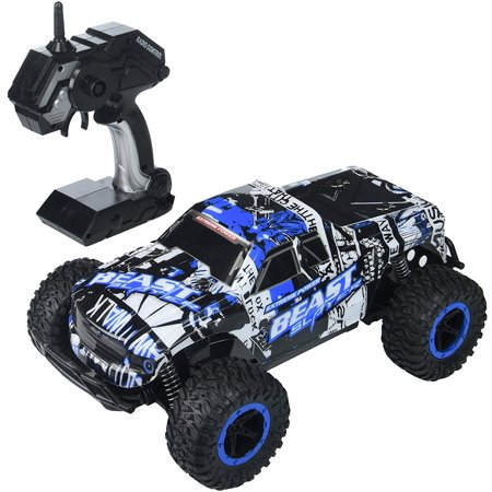 Remote Control Toy RC Rally Truck Car 2.4 GHz 1:16 Scale Size w/ Working Suspension, Spring Shock