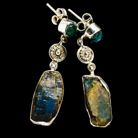 """Rough Labradorite, Blue Fluorite Earrings 1 3/4"""" (925 Sterling Silver)  - Handmade Boho Vintage Jewelry EARR385176"""