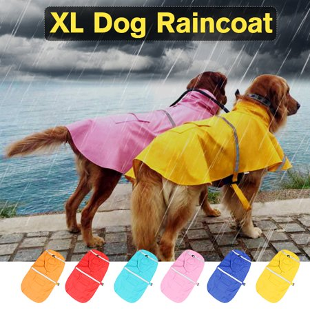 Waterproof Dog Raincoat XL Pet Clothes Lightweight Rain Jacket Poncho Hoodies Outdoor with Reflective Strip For Dog - Poncho Dog