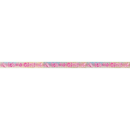 Prismatic Foil It S A Girl Baby Shower Banner 9 Ft Pink 1ct