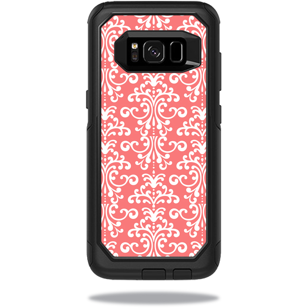 MightySkins Protective Vinyl Skin Decal for OtterBox CommuterSamsung Galaxy S8 Case sticker wrap cover sticker skins Coral Damask