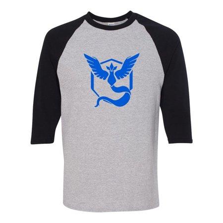 Pokemon Go Gym Team Mystic Blue Mens Womens 3/4 Raglan Sleeve T-Shirt - Custom Team Gear