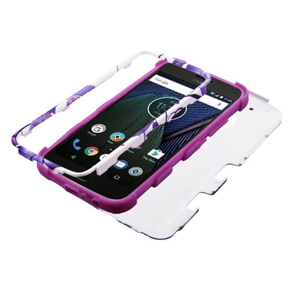 Motorola Moto G5 Plus Case, Motorola Moto X 2017 Case, by Insten Hibiscus Flower Romance TUFF Shock Absorbing Hybrid PC/TPU Dual Layer Case For Motorola Moto G5 Plus / X (2017) - Purple - image 1 de 3