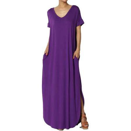 TheMogan Women's Viscose Jersey V-Neck Short Sleeve Relaxed T-Shirt Slit Maxi Dress (Green Wedding Dress)