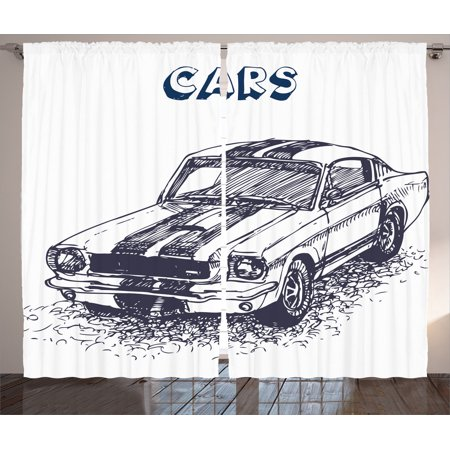 Apartment Decor Curtains 2 Panels Set, Grunge Style Old Nostalgic Sports Car Theme Illustration Speed Vehicle Manly Design, Living Room Bedroom Accessories, By Ambesonne (Car Themed Decor)