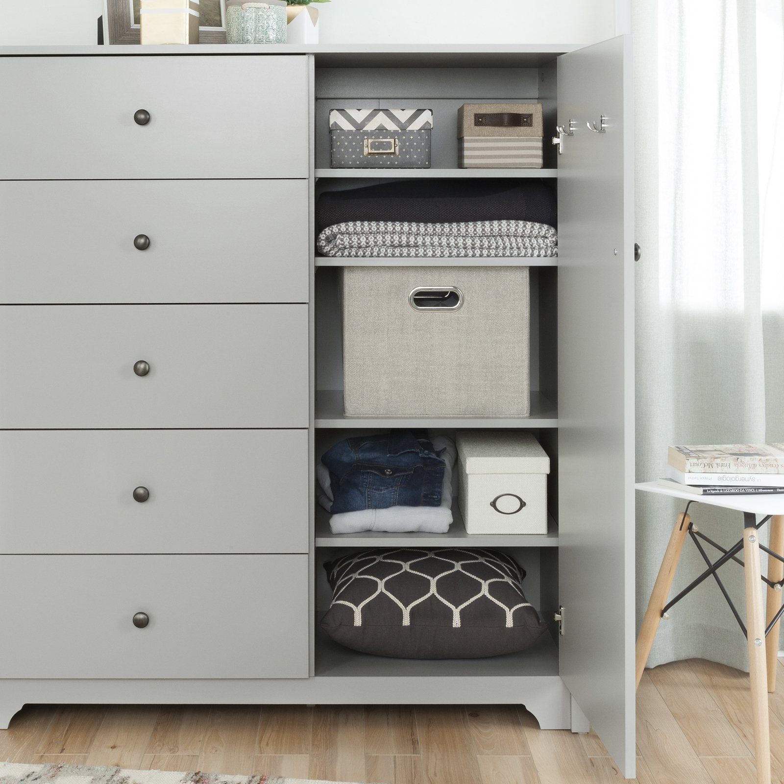 South Shore Vito Door Chest with 5 Drawers, Multiple Finishes