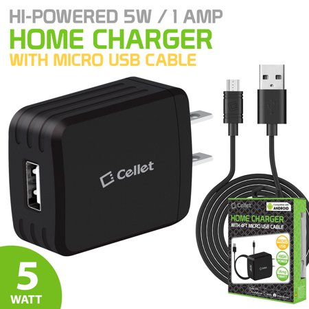 CyonGear Travel and Home Charger, Compact 5Watt(1Amp) Home Charger with 4ft. Micro USB Cable and Smart IC Chip Technology (Overcharging, Overheating and Overcurrent Protection) for (Travel Usb Home Charger)