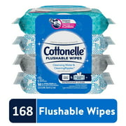 Cottonelle Flushable Wet Wipes, 4 Flip-Top Packs of 42 Wipes, 168 Total Wipes
