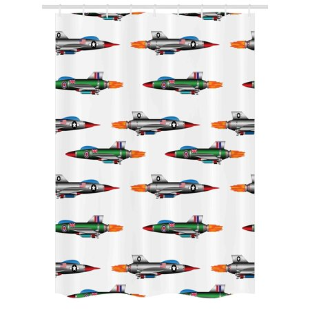 Airplane Stall Shower Curtain Collection Of Jet Fighters Rocket Aviation Attack Fire Bombers Modern