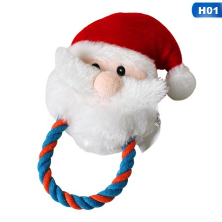 KABOER 1Pc Santa Claus Shape Pet Toy Fabric Dog Toys Pet Puppy Cotton Rope Christmas Snowman Shape Chew Toys Christmas Decorations For Home