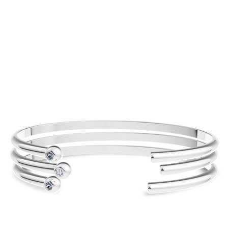 University Of Rhode Island Engraved Sterling Silver White Sapphire Cuff Bracelet - image 5 of 7