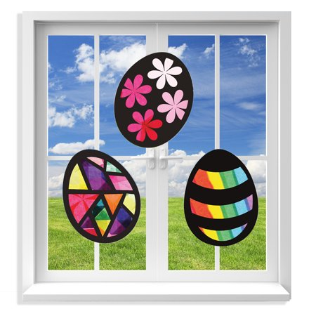 VHALE 3 Sets of Stained Glass Effect Paper Suncatcher Kits, Window Art, Window Decorations, Creative Arts and Crafts, Great Travel Toys and Party Favors for Kids (Easter Egg)