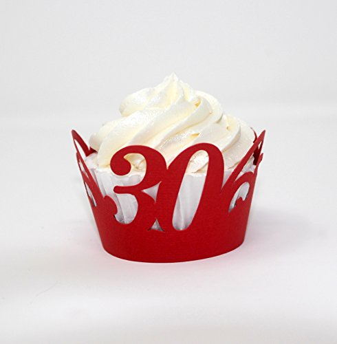 All About Details 30 Cupcake Wrappers,12pcs, 30th birthday decoration, 30th anniversary decoration (Red)