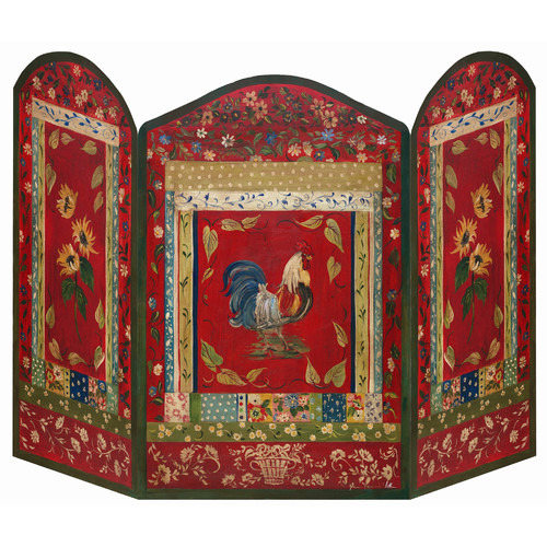 Stupell Industries Red Rooster 3 Panel Fireplace Screen