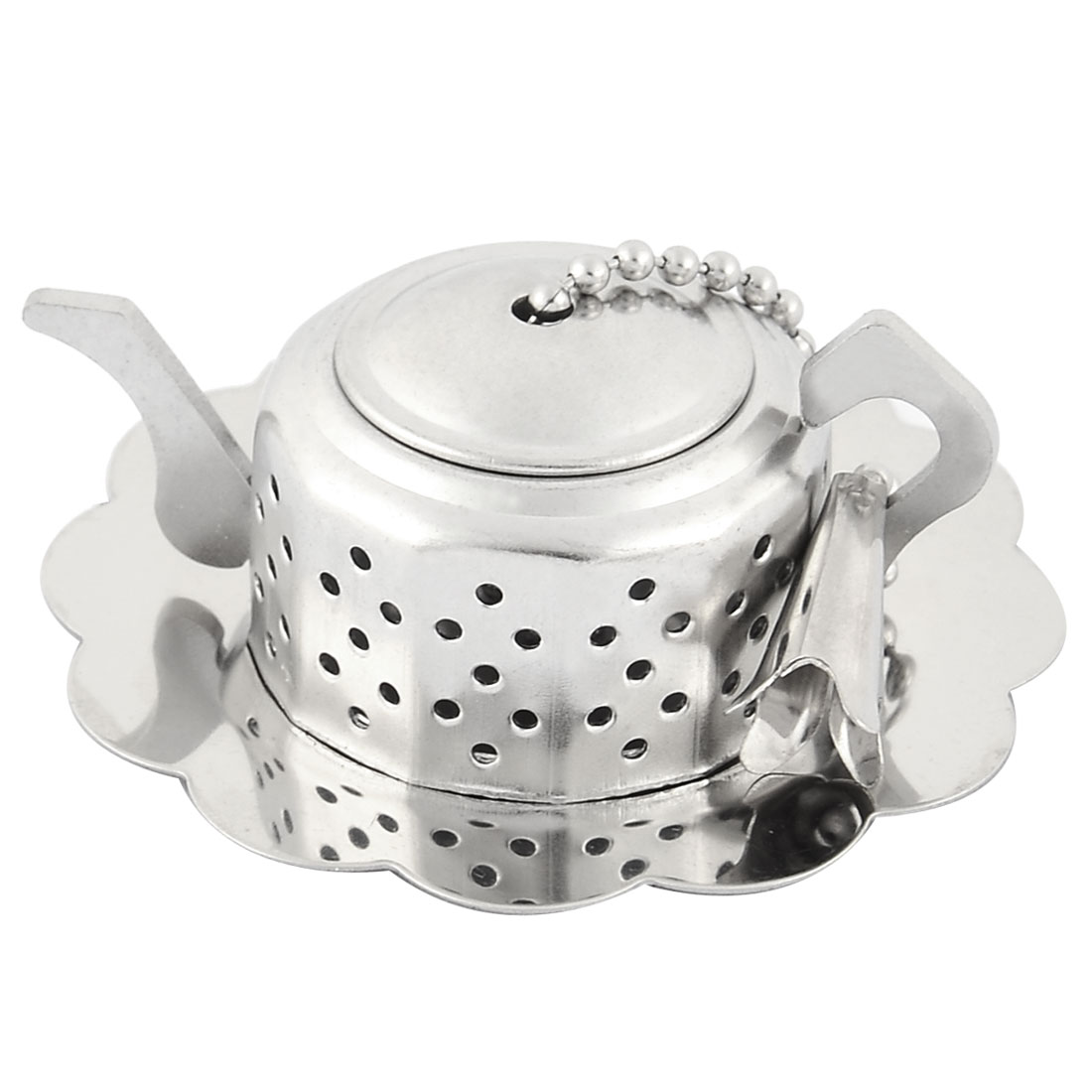 Teapot Shape Herbal Spice Coffee Bean Leaf Filter Tea Strainer Set Silver Tone