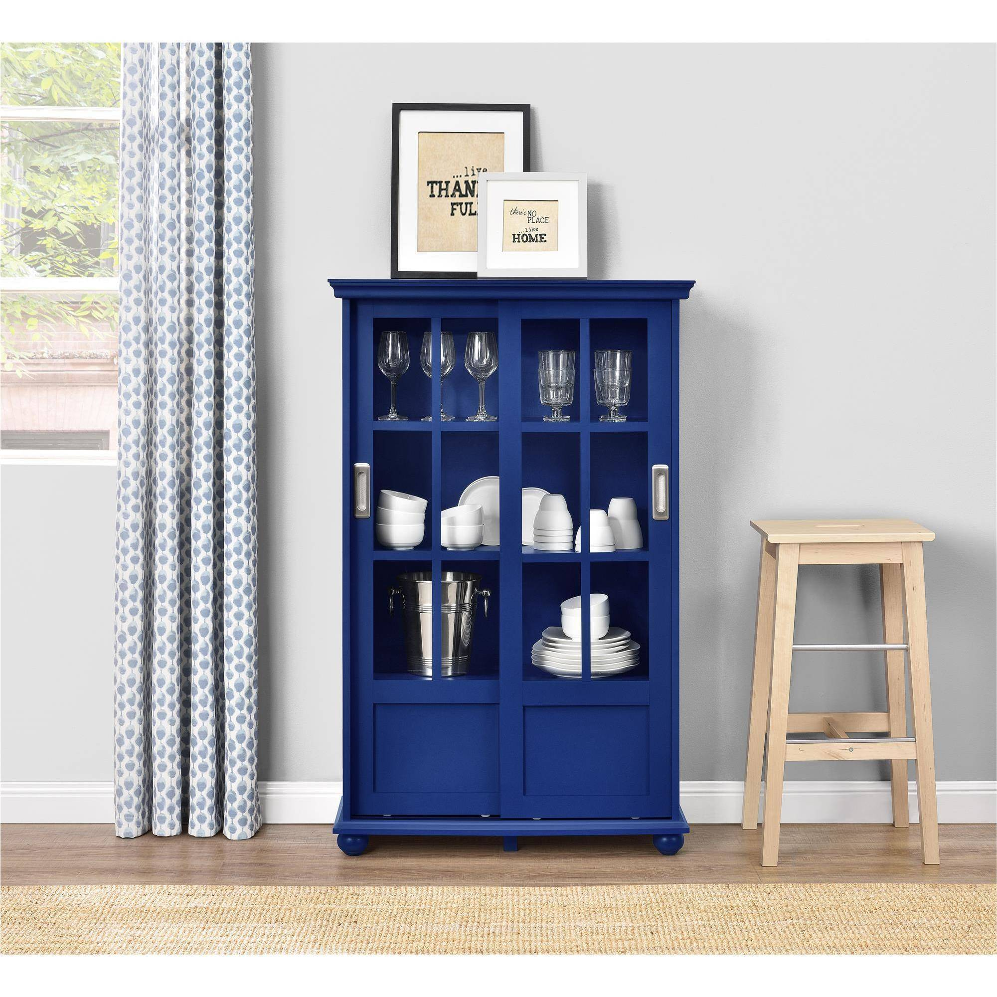 Blue Bookcase altra aaron lane bookcase with sliding glass doors, white