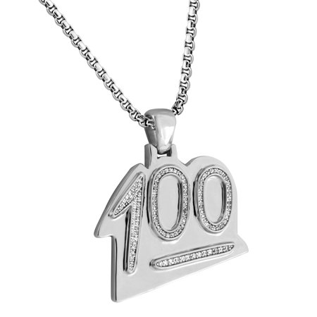 100 Hundred Emoji Pendant 18k White Gold Plate Lab Created Cubic Zirconias Stainless Steel Chain