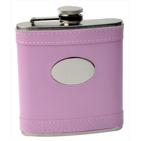 FJX Wholesale HFL-W058D 6oz Pink Faux Leather Stainless Steel Hip Flask - Punk Wholesale