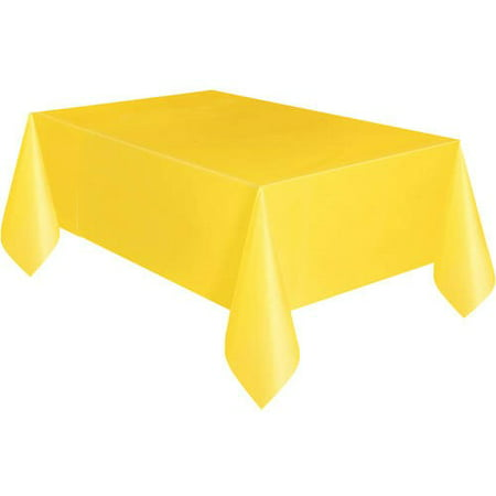Yellow Plastic Party Tablecloth, 108 x 54in - Christmas Plastic Tablecloths