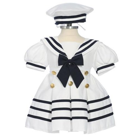 Womens Sailor Outfit (Baby Girls White Navy Bow Dress Hat Sailor Outfit)