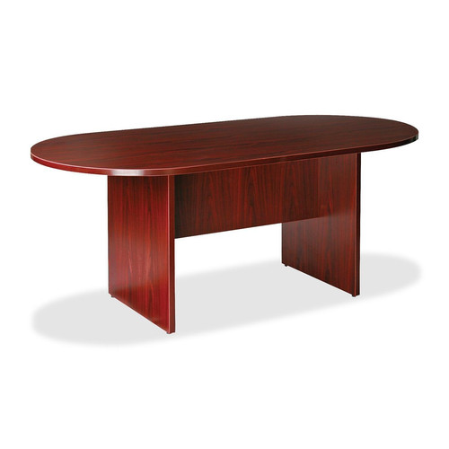 Lorell Essentials Oval Conference Room Table Top and Base, Mahogany LLR87272